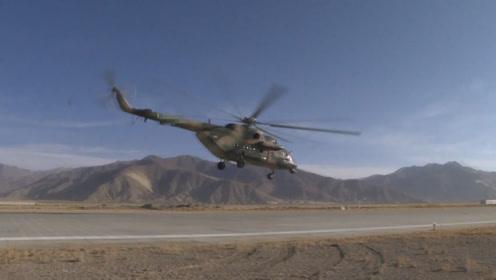 实拍西藏军区数架高原直升机野外起降!战机贴地飞行卷起滚滚黄沙