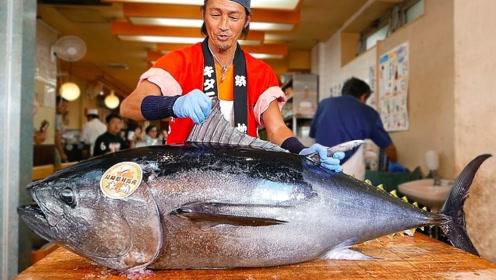 日本厨师展示绝世刀工,现场拆解几百斤重金枪鱼,看得流口水!