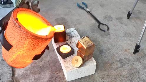 废铜熔化铸成铜锭大骰子,收藏还不错,拿来玩就算了