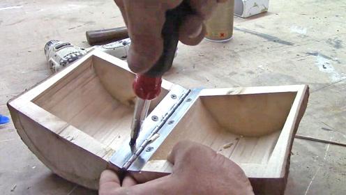 木头锯掉芯材,制作一个简约款储物箱子,创意十足,成品还很棒