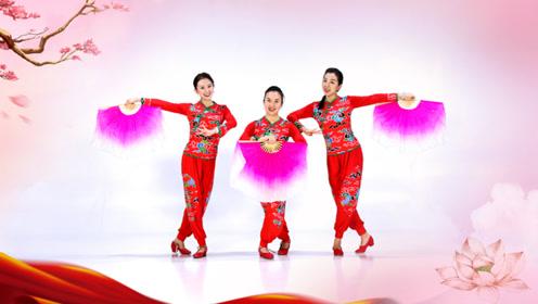 糖豆广场舞课堂《陕北女娃娃》扇子秧歌舞教学
