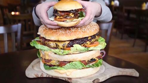 美国最大汉堡包新鲜出炉了,大胃王都挑战失败了