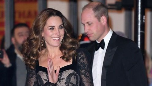凯特王妃黑丝礼裙秀美背性感不失优雅