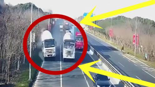 货车司机之间的默契让人直呼可怕,看了监控吓得一身冷汗!