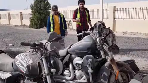 迪拜废车场还有摩托车?农民小伙真走运,花500元买到20万的车