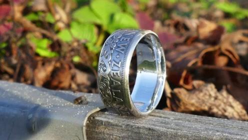 一块复古纪念币,男子用它打造成戒指,这手艺真是太强大了