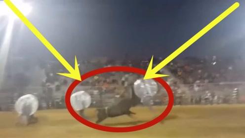 斗牛士疯狂作妖,以为这样就安全了,不料下秒公牛直接送他上天!