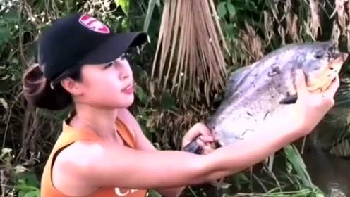 奢侈的垂钓,龙虾肉来钓食人鱼,上钩就是快