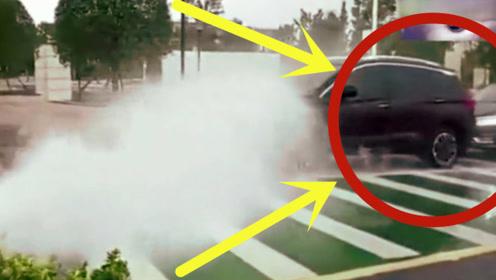 本想蹭个免费洗车,结果却尴尬到石化,监控拍下无语一幕!