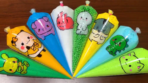 DIY史莱姆教程,章鱼压力球+雪糕亮粉泥+草莓水晶泥+气球饰品