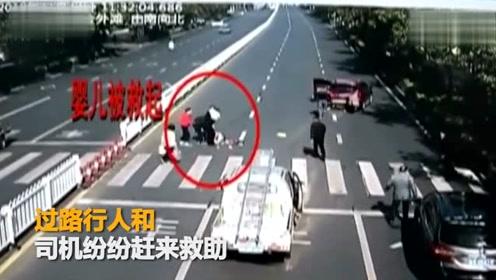安徽轿车斑马线礼让行人遭追尾 女子推着婴儿车被撞飞