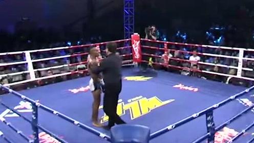 炸药杨茁火力全开,黑人拳手无法有效打击得分,杨茁赢得比赛