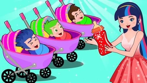 三个男孩在家吵闹,女孩拿出魔法棒,将他们全都变成婴儿!