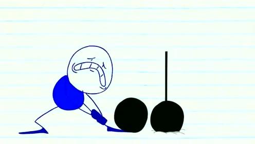 创意动漫搞笑动画,铅笔人举亚铃,不小心弄得一身伤