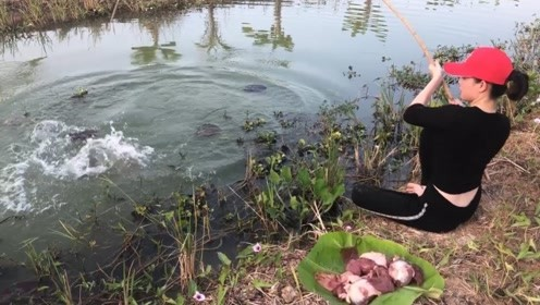 农村女孩钓鱼,用大块鸡肾鸭肾钓鱼,果然钓到了大货