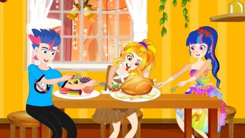 善良女孩做了烤火鸡,她和丈夫邀请女孩一起品尝,真有爱心!