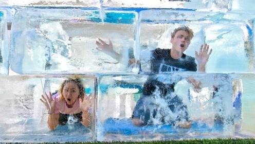 外国小伙的趣味挑战,谁能在冰屋中待的时间最长,就能获得1万美金