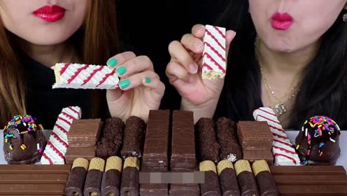母女吃巧克力甜点,威化饼干巧克力脆皮冰激凌,冰爽甜蜜好过瘾