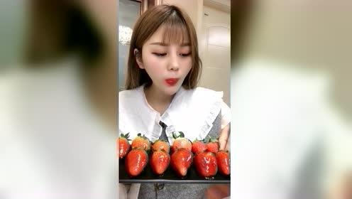 美食吃播:嘎嘣脆冻草莓
