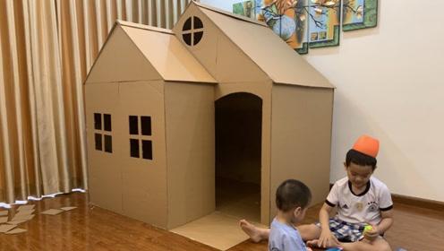大叔用硬纸板做了一座大房子,给自家小孩玩耍,看到成品羡慕了!