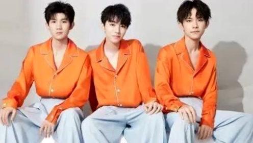 TFBOYS合体!三人红毛衣搭白色背带裤活力十足
