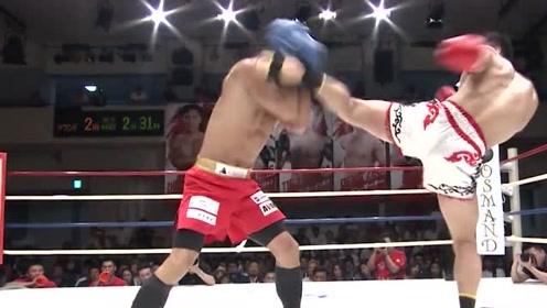 扬我国威!中国拳手日本客场连续高踢腿打败本土选手,披国旗庆祝