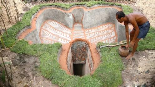 牛人徒手挖出一个蝴蝶泳池,还自带秘密豪宅,这小日子真舒坦!