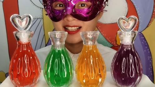 """小姐姐吃创意""""爱心花瓶果冻"""",3色晶莹好水润,酸甜直吸溜"""