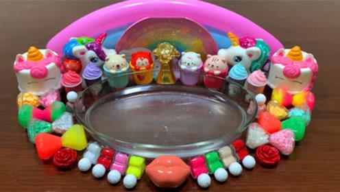 DIY史莱姆,彩虹指甲油+砖石水晶泥+玫瑰花唇釉+小马彩泥,解压治愈