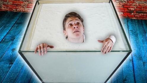 老外把身体泡在非牛顿流体中,他还能出来吗?结局出乎意料
