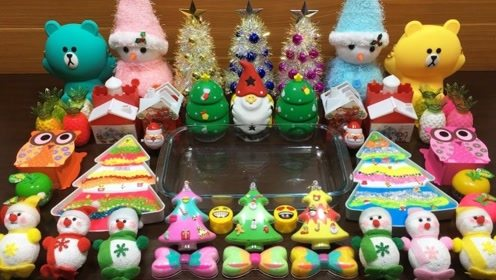 圣诞节版史莱姆,加入圣诞树、雪人、小熊饰品,等材料制作史莱姆