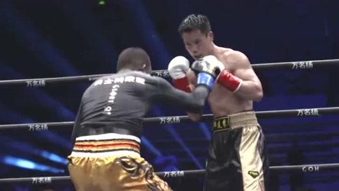 邱建良被对手打到眼角,后暴揍其十几拳打的人站不稳KO胜出