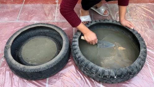 轮胎与水泥的创意,刚开始根本都看不懂,成品出来我羡慕了