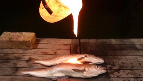 老外奇葩实验 ,用岩浆烤鱼,成品外焦里嫩,就是不敢吃!