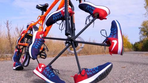 把运动鞋制成自行车车轮能骑吗?国外小伙亲测,网友:涨知识了!