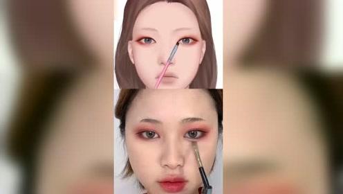 跟着漫画学美妆,丑女也会大变身,果然只有大神才画得出来这种妆容