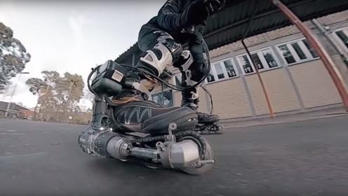 老外将钻机安装在轮滑鞋上,玩起来是种什么体验?像是开了倍速一样