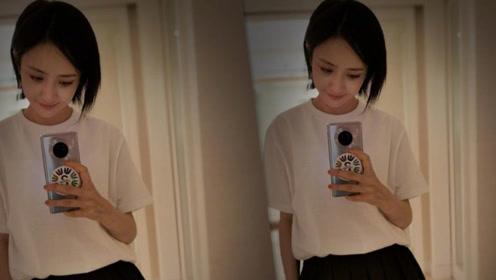 佟丽娅晒自拍照短发清纯似高中女生,网友:仙女下凡辛苦了