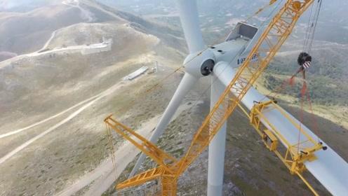 风力发电机叶片安装,施工速度超级慢,吊装叶片就要大半天