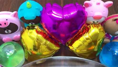 DIY史莱姆教程,爱心气球饰品+超萌小熊彩泥,好玩好看