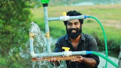 印度大叔用塑料瓶和PC水管制作抽水机,成本不足十元,网友:学到了