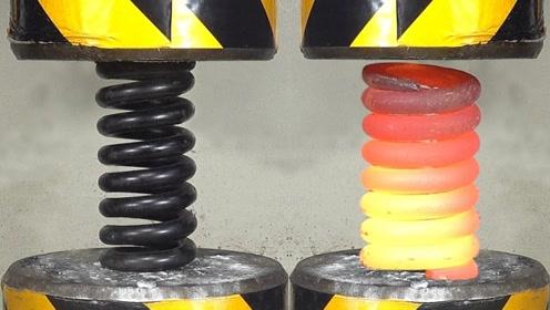 弹簧加热和不加热哪个更强?老外200吨液压机测试,结果太震撼