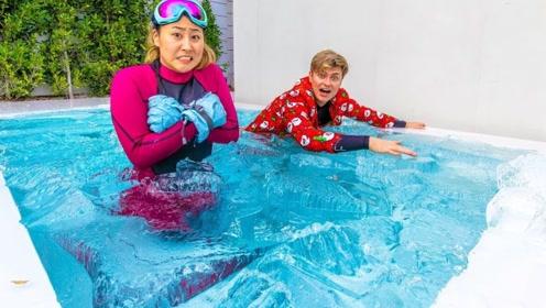 317公斤冰块能把泳池冻住吗?老外大胆尝试,差点怀疑人生!