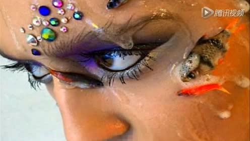 艺术家杀鱼装饰模特面部遭批 回应称鱼不会疼
