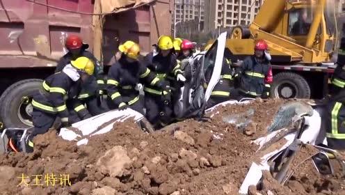 死人了!载泥工程车侧翻 轿车被压扁司机不幸身亡
