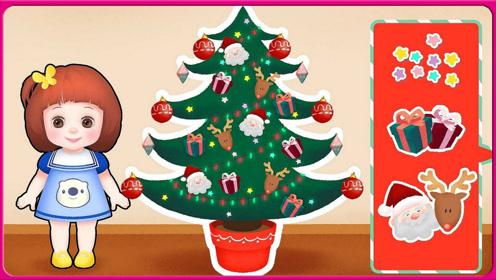 圣诞节到咯卡通人物朵啦的魔法圣诞树 神奇的圣诞树工具 小伶玩具