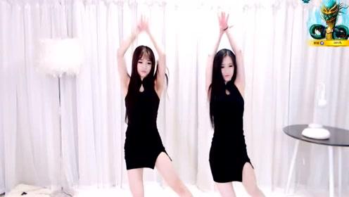 俩姐妹一身黑色旗袍跳起舞简直美