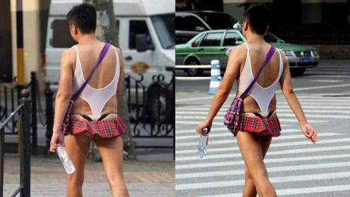"""""""潮男""""着迷你小短裙 风情万种过马路"""