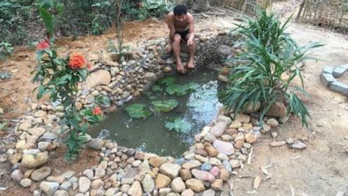 国外土著在后院自建鱼池全过程,这动手能力让人佩服