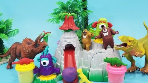 熊大熊二培乐多彩泥手工制作恐龙公园儿童玩具